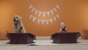 Dog and baby at podiums for Big Lots