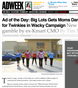 AdWeeks Ad of the Day - Big Lots Mostess #thriftisback